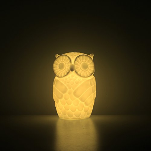 Mojocraft Serenity the Owl Battery Powered Decorative Claylike Night Light with Timer, Warm White