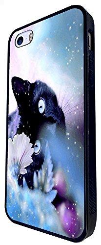 1003 - Cool Fun Cute Kitten Cat Flower Playful Animal Nature Design iphone SE - 2016 Coque Fashion Trend Case Coque Protection Cover plastique et métal - Noir