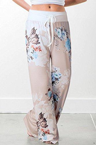 Palazzo Jambes Lounge Femmes Grey Pantalon Yoga De Quotidien des Long Floral Occasionnel g5qr5zvWH