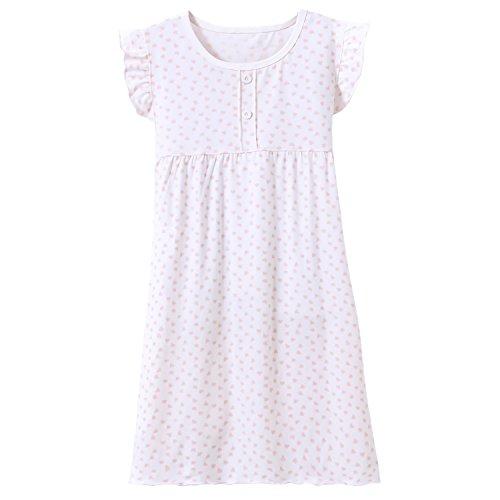 (Big Girls' Princess Nightgowns Heart Print Sleep Shirts Granny Pjs White Size 9)