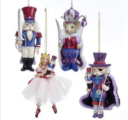 Kurt Adler Nutcracker Suite Set of 4 Resin Ornaments Nutcracker,Mouse King Ballerina and Drosselmeyer