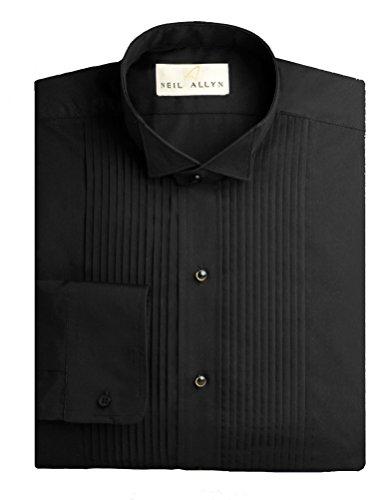 Men's Formal Tuxedo Shirt Collection (Medium - 32/33 Sleeve, 901-01 - 1/4 Pleat Wing - Black)