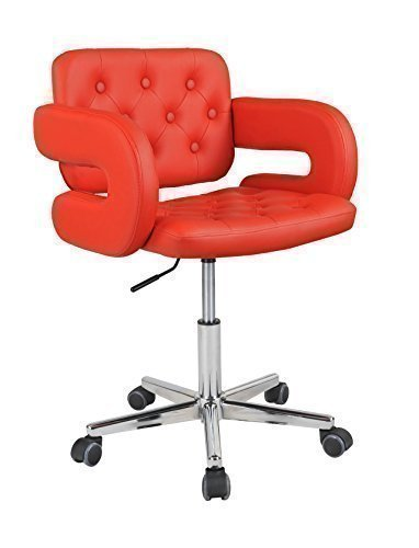 leather swivel office chair. HNNHOME Faux Leather Havana Swivel Office Chair - Red