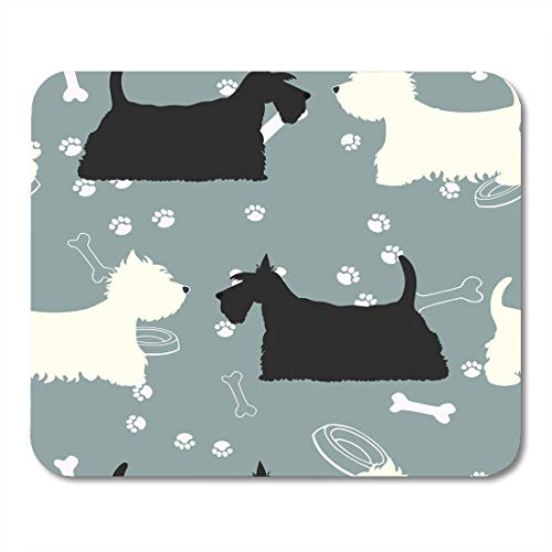 VANKINE Mouse Pads Terrier Dogs Silhouettes Scottie and Westie Pattern Animalpattern Animals 9.5