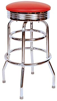 Richardson Seating 0-1971RED Retro Chrome Swivel Metal bar Stool, Red, 30