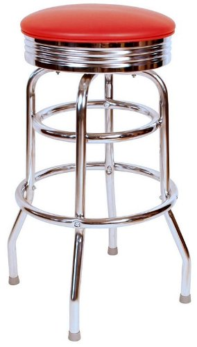 Richardson Seating 0-1971WIN Retro Chrome Swivel bar Stool with Seat Metal, 30 , Wine