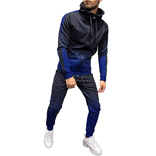(clearance sale!!ZEFOTIM Mens Autumn Winter Packwork Print Sweatshirt Top Pants Sets Sport Suit Tracksuit(Large,Blue))