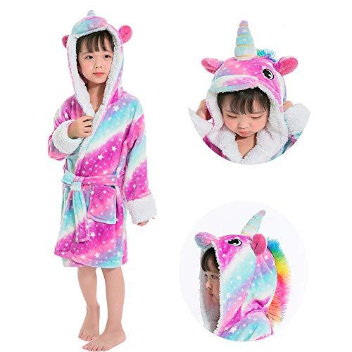 (Kids Unicorn Bathrobe Sleepwear Pajamas Soft Fleece Bath Robe Toddler Women Girl (Star Sky, 6-7T (Years)))