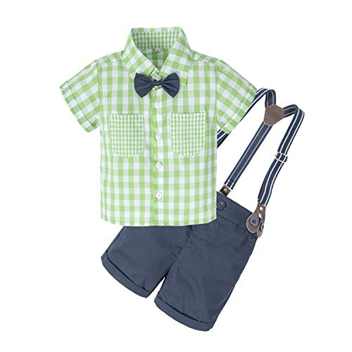 BIG ELEPHANT Baby Boys'2 Piece T-Shirt Suspender Shorts Clothing Set NA42