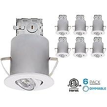 Recessed Lighting Kit: 3-Inch ETL-listed Air Tight IC Housing + White Swivel Trim + LED Dimmable GU10 Light Bulb Warm White, Rotatable Spotlight Fixture, Decorative Retrofit Downlight Kit, Pack of 6