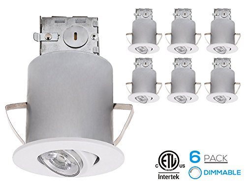 Recessed Lighting Kit: 3-Inch ETL-listed Air Tight IC Housing + White Swivel Trim + LED Dimmable GU10 Light Bulb Warm White, Rotatable Spotlight Fixture, Decorative Retrofit Downlight Kit, Pack of 6