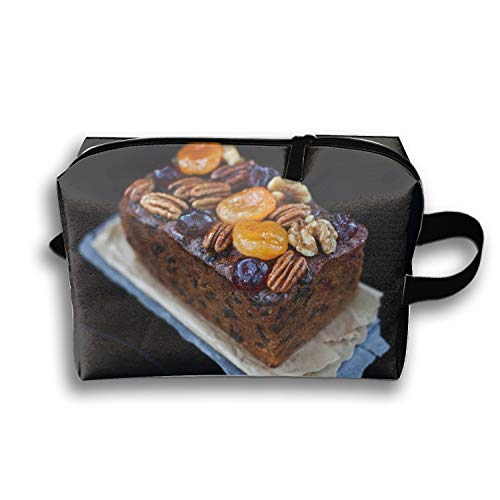 Travel Toiletry Pouch Loaf Cakes Christmas Cookies Caramelized Fruit Dried Apricots Walnuts Makeup Organizer Clutch Bag with Zipper