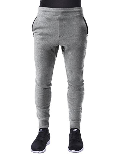 Urban Mens Hat (Hat and Beyond Mens Fleece Jogger Pants Elastic Active Basic Urban Harem Slim Fit (Large, IPJ058 Gray))