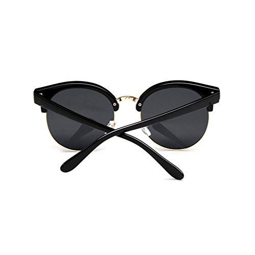 Marco de del Gafas reflexivas Unisex Black Medio polarizadas Moolo Gafas de Redondas Black Sol Retros Color vpP8wg