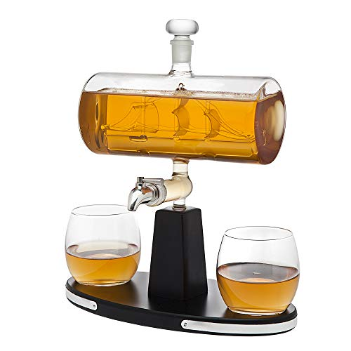 Godinger Whiskey Decanter Dispenser with 2 Whisky Tumbler Glasses - for Liquor, Scotch, Bourbon, Vodka by Godinger (Image #1)