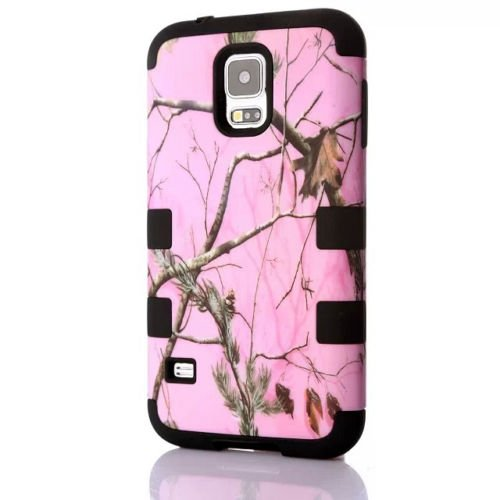 Samsung Galaxy S5 Pink Branch Camo Camouflage Armor Protection Hybrid Impact Heavy Duty Shockproof Muddy Leaf Straw Rugged Mossy Defender Girl Case [Hard PC + Soft Silicone] By Tech Express (Black)