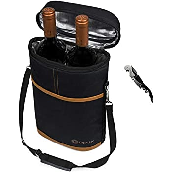 ce2219d7f Premium Insulated 2 Bottle Wine Tote | Wine Carrier Bag with Shoulder Strap,  Padded Protection, and Corkscrew Opener | Wine Travel Cooler Bag