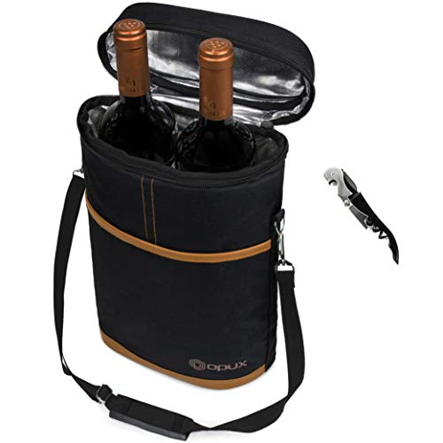 Premium Insulated 2 Bottle Wine Carrier | Wine Tote Bag with Shoulder Strap and Corkscrew Opener | Padded Wine Cooler Carrying Bag for Travel -Brown