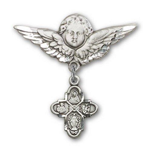 Icecarats Créatrice De Bijoux En Argent Sterling À 4 Voies Broches Badge Charme D'Ange 1 1/8 X 1 1/8