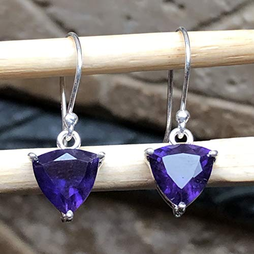 (Natural 2ct Rose de France Amethyst/Purple Amethyst 925 Solid Sterling Silver Trillion Shape Dangle Earrings 20mm Long)