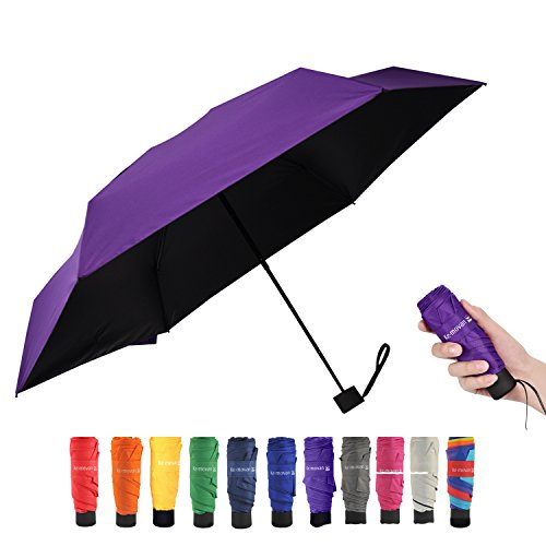 Travel Compact Umbrella Mini Sun Umbrella Ultra Light Parasol - Fits Men & Women (Ver - Purple Sunburn
