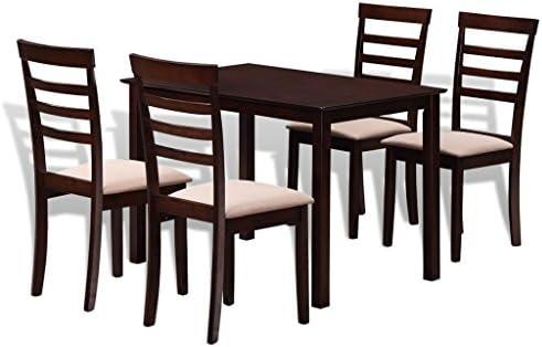 vidaXL Conjunto Mesa de Comedor con 4 sillas de Madera Maciza ...