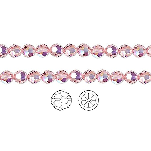 Swarovski Crystal Beads Light Rose AB 5000 Faceted Round 4mm Package of 12 ()