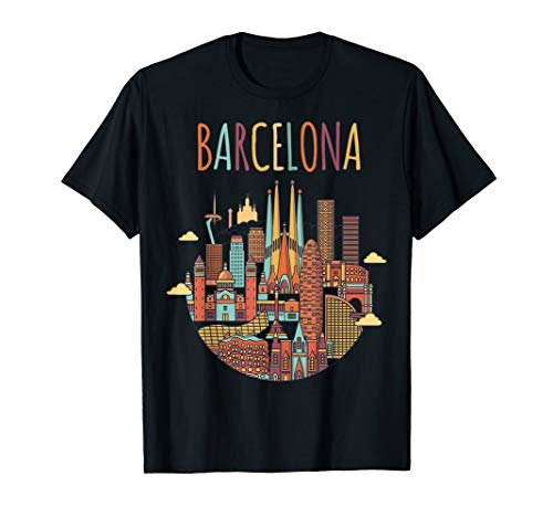 Colorful Travel in Barcelona Spain Family Shirt European Tee ()