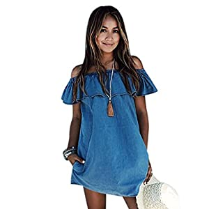 Gillberry Women Off Shoulder Beach Dress Casual Sleeveless Short Mini Dress (M)