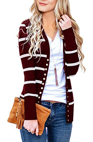 MEROKEETY Women's Long Sleeve Snap Button Down Solid Color Knit Ribbed Neckline Cardigans
