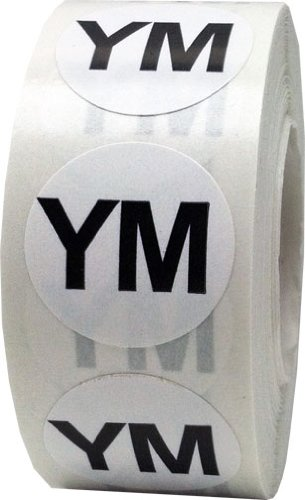 White Round Clothing Size Stickers YM - Youth Medium Adhesive Labels for Apparel Retail - 500 Total