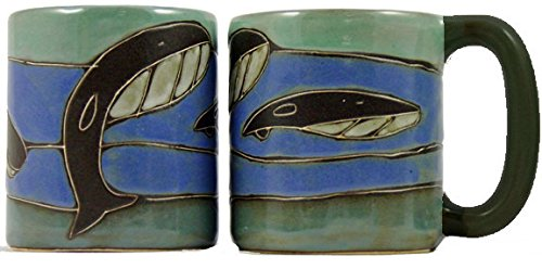 Christmas Mug Theme Collectible - One (1) MARA STONEWARE COLLECTION - 16 Oz Coffee Cup Collectible Dinner Mug - Whale Ocean Blue Design