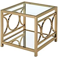 HOMES: Inside + Out Iohomes Ortencia Champagne O-Ring Frame End Table
