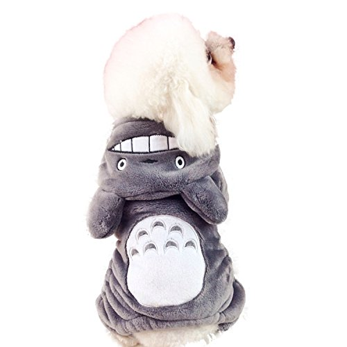 Gaorui Winter Warm Soft Halloween Pet Costume Jumpsui Totoro Lion Dog Clothes Puppy Cat Fleece Fur Hoodie Coat Clothing ()
