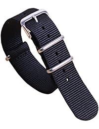12mm Black Classic Fashion NATO style Ballistic Nylon Watch Band Strap Replacement for Women