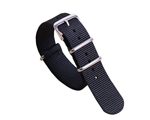 12mm Black Classic Fashion NATO style Ballistic Nylon Watch Band Strap Replacement for Women