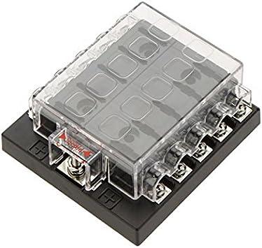 Alamor 10 Way Fusible Caja Bloque Portafusible Caja Coche Vehículo Circuito De La Cuchilla Automotriz: Amazon.es: Coche y moto