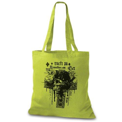 StyloBags Jutebeutel Bad Skull Cross Stofftasche, Farbe:kiwi
