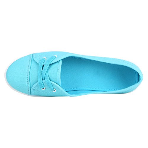 Stiefelparadies Sportliche Bequeme Damen Sneakers Basic Sportschuhe Flandell Hellblau