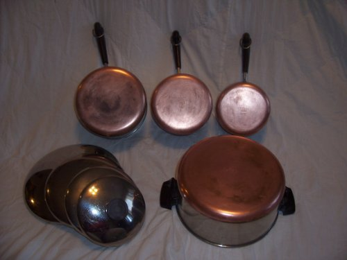 Set of 4 Vintage 1801 Revere Ware Stainless Steel Copper Bot