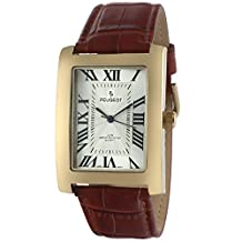 Peugeot Men's Vintage Rectangular 14K Gold Plated Brown Leather Strap Watch
