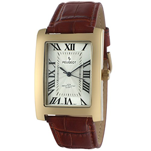 Peugeot Men's Vintage Rectangular 14K Gold Plated Brown Leather Strap - Men Face Rectangular