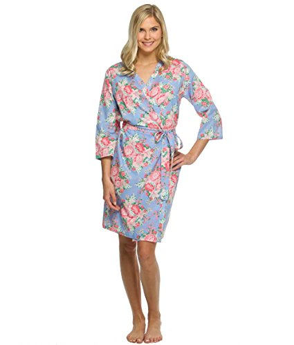 The Paisley Box Womens Blue Cotton Floral Robe,Blue,Large / 10-12