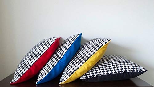 """Set of 4 Pillows - Size 18""""x18"""" Multi-Color Wool Crêpe & Black Bouclé Houndstooth Pattern Pillow Cover, Blue Geometric Pillow Cover, Red Houndstooth Pillow Cover, Yellow Houndstooth Pillow Cover."""