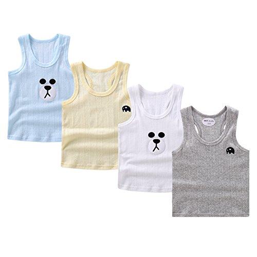 Cotton Baby Undershirt (Guozyun 4Pack Baby Boy's Tank Tops Sleeveless T-Shirts Undershirt Cami Shirts for Toddler Kids Little Boy (4-5 Years))
