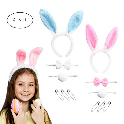 Garma 2 Sets Bunny Ears Headband Rabbit Ears Headband Easter Headbands for Kids and Adults with Tails and Bow Tie, 6 Pieces Safety Pins, Pink and Blue