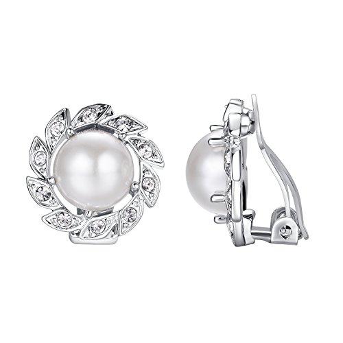 - Yoursfs Pearl Clip Earrings-Freshwater Clip Pearl Earrings Non Pierced Ears Sunflower Bridesmaid Earrings