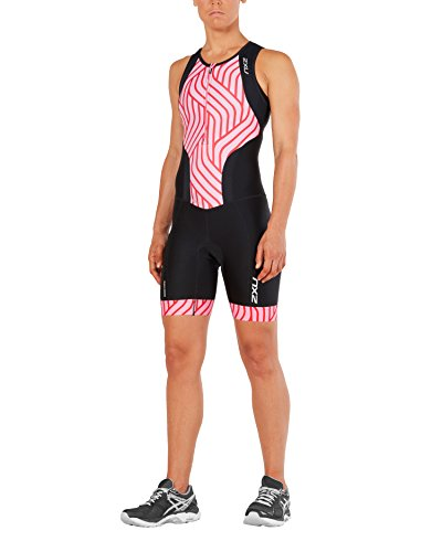 2XU Womens Perform Front Zip Trisuit, Black/Rose Pink Tide, Small by 2XU (Image #1)