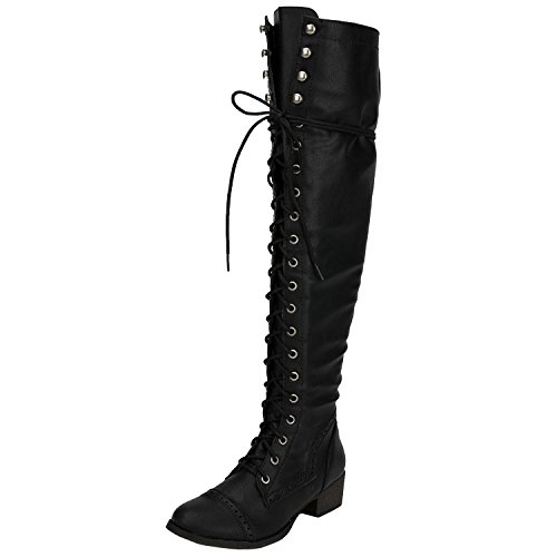 Womens Gothic Boots (Breckelles Women's Alabama-12 Knee High Riding Boots (9, Black))