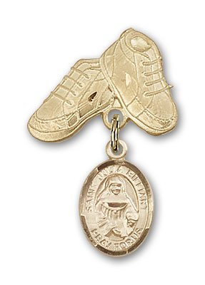 ReligiousObsession's 14K Gold Baby Badge with St. Julia Billiart Charm and Baby Boots Pin